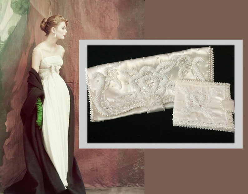 Hand Made in Japan As Is Vintage Flea Market Find Old Hollywood Glamour Vintage White Beaded Evening Clutch with Matching Wallet
