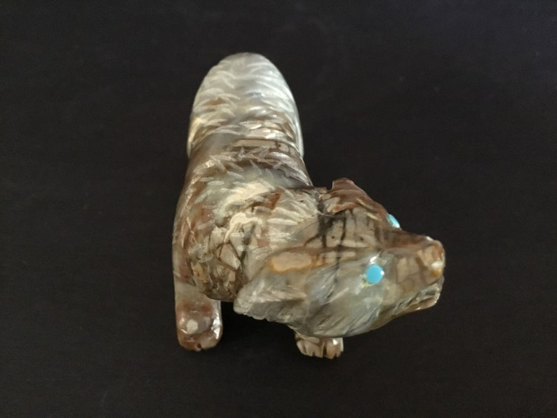 Beautiful Vintage Native American Zuni Gray Tones Onyx Badger Fetish with Turquoise Eyes Found at Antiques Flea Market in New Mexico