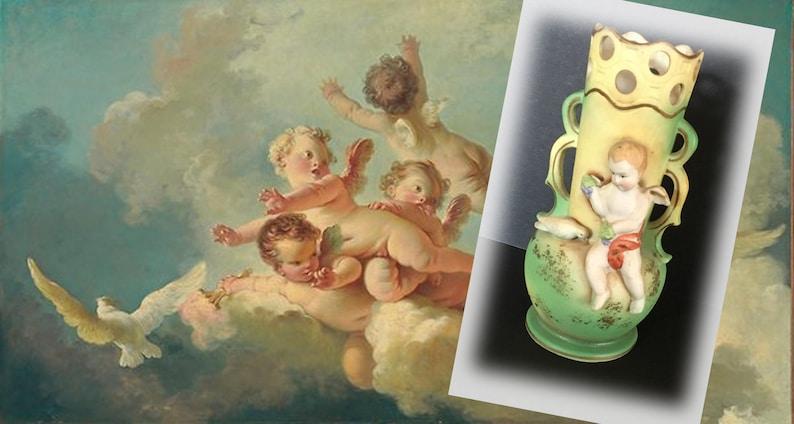 Made in Japan Sweet Vintage Hand Painted Porcelain Cherub Vase Found at Oregon Antiques Flea Market