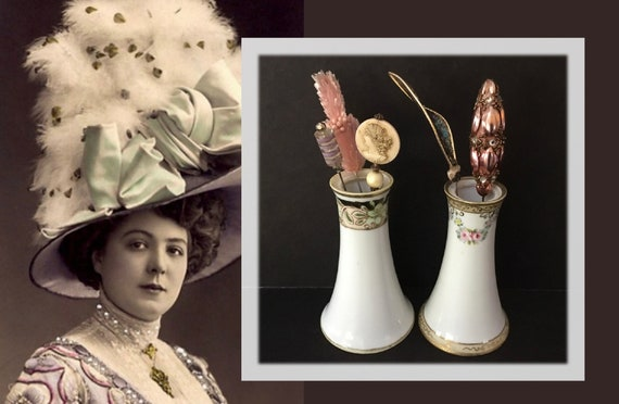 Two to Choose From Found at Vintage Flea Market in Montreal Quebec Unique Antique Art Deco Inspired Sew On Decorative Hat Embellishments