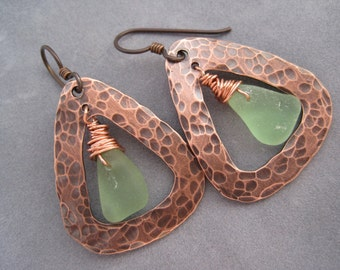 Sea Glass Earrings - Light Green - Triangle Hoop - Hammered Copper - Beach Glass - Green Hoops - Metalwork - Textured Metal