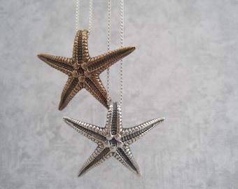 Starfish Pendant - Natural - Casted - Bronze or Silver Starfish - Beach- Nautical - Summer Style - Starfish Charm - Star Fish