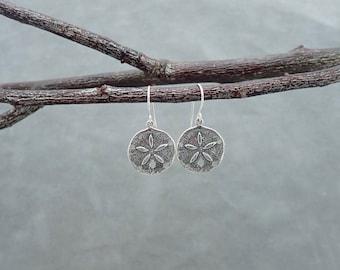 Sand Dollar Earrings - Sea Charms - Sand Dollar Dangle Earrings - Ocean Inspired - Charms - Sterling silver -