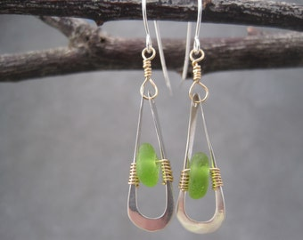 Sea Glass Earrings - Bright Green - Beach Glass - Dangle Earrings- Metalwork - Hammered Sterling - Wire Wrapped - Mixed Metal - Contemporary