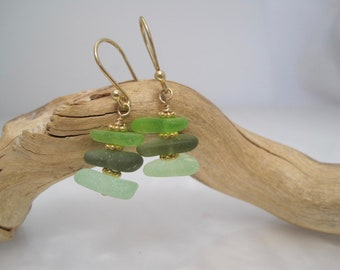 Sea Glass  Earrings - Sea foam Green - Cairn of Color - Natural Sea Glass - Beach Glass - Gold -  Recycled - Saved from the Depths