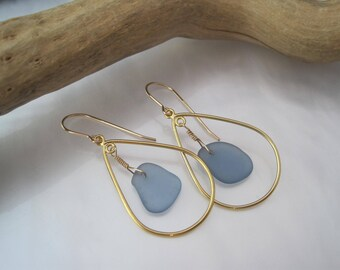 Sea Glass Earrings -Hoop Earrings - Cornflower Blue - Bright Blue - Beach Glass Hoops - Frosted Sea Glass - Recycled - Upcycled