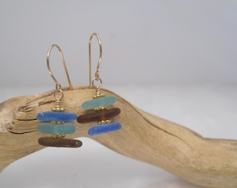Sea Glass  Earrings  - Cairn of Color - Natural Sea Glass - Beach Glass - Gold -  Recycled - Saved from the Depths