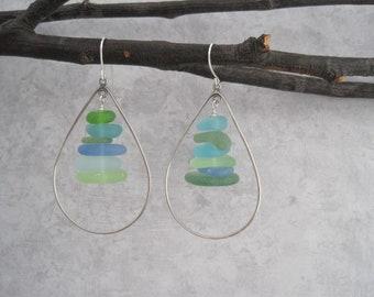 Sea Glass Earrings -Blue - Green -Hoop Earrings - Aqua Sea Glass - Multi Color - Beach Glass Jewelry - Natural - Surf Tumbled