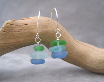 Sea Glass  Earrings - Blue - Green - Stack of Color - Cornflower Blue - Beach Glass - Sterling - Drop Earrings - Beach - Ocean - Summer Fun