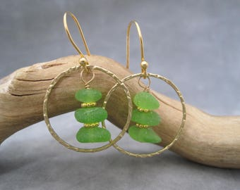 Sea Glass Earrings -Hoop Earrings - Smooth Green - Stacked - Beach Glass - Frosted Sea Glass - Sea Treasure - Recycled - Upcycled