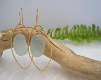Sea Glass Earrings -Marquis Shape Hoop Earrings - Pale Seafoam Green - Beach Glass - Frosted Sea Glass - Sea Treasure - Recycled - Upcycled