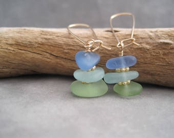 Sea Glass  Earrings - Blue and Green - Stack of Color - Aqua - Beach Glass Earrings - Sterling - Drop Earrings - Beach - Ocean - Summer Fun