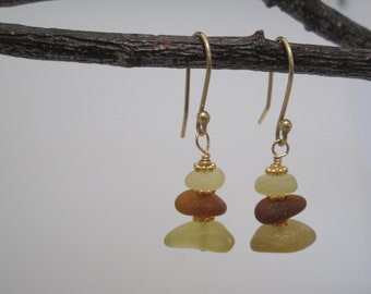 Sea Glass  Earrings - Golden Glow - Cairn of Color - Natural Sea Glass - Beach Glass - Gold -  Recycled - Saved from the Depths