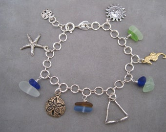Sea Glass Charm Bracelet - Blues and Greens - Cornflower - Beach Glass  - Beach Lover Bracelet - Charm - Sun Worshipper