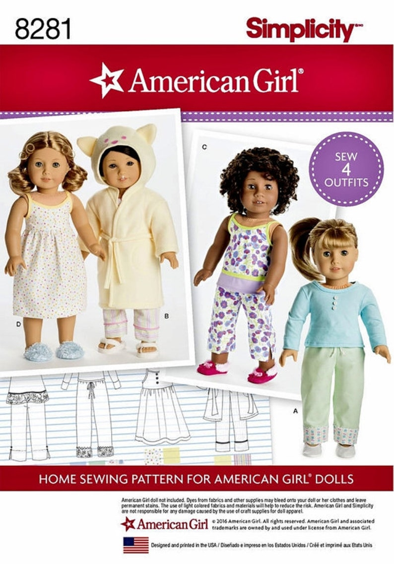 Simplicity 8281 American Girl Doll 18 Doll Clothes Etsy