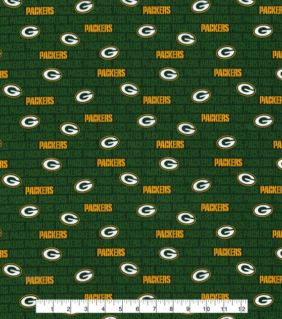 Green Bay Packers Mini Print 100 Cotton Fabric Nfl Etsy