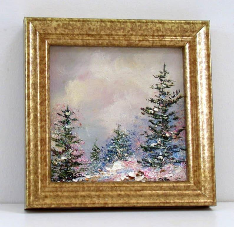 sparkling winter snow Original miniature  winter scene,gift for landscape lovers,small art gift