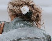 Mrs Popped Collar Custom Embroidered Denim Jacket Bride Jean Jacket Wedding Jacket Personalized Bridal Jacket Bridesmaid Proposal