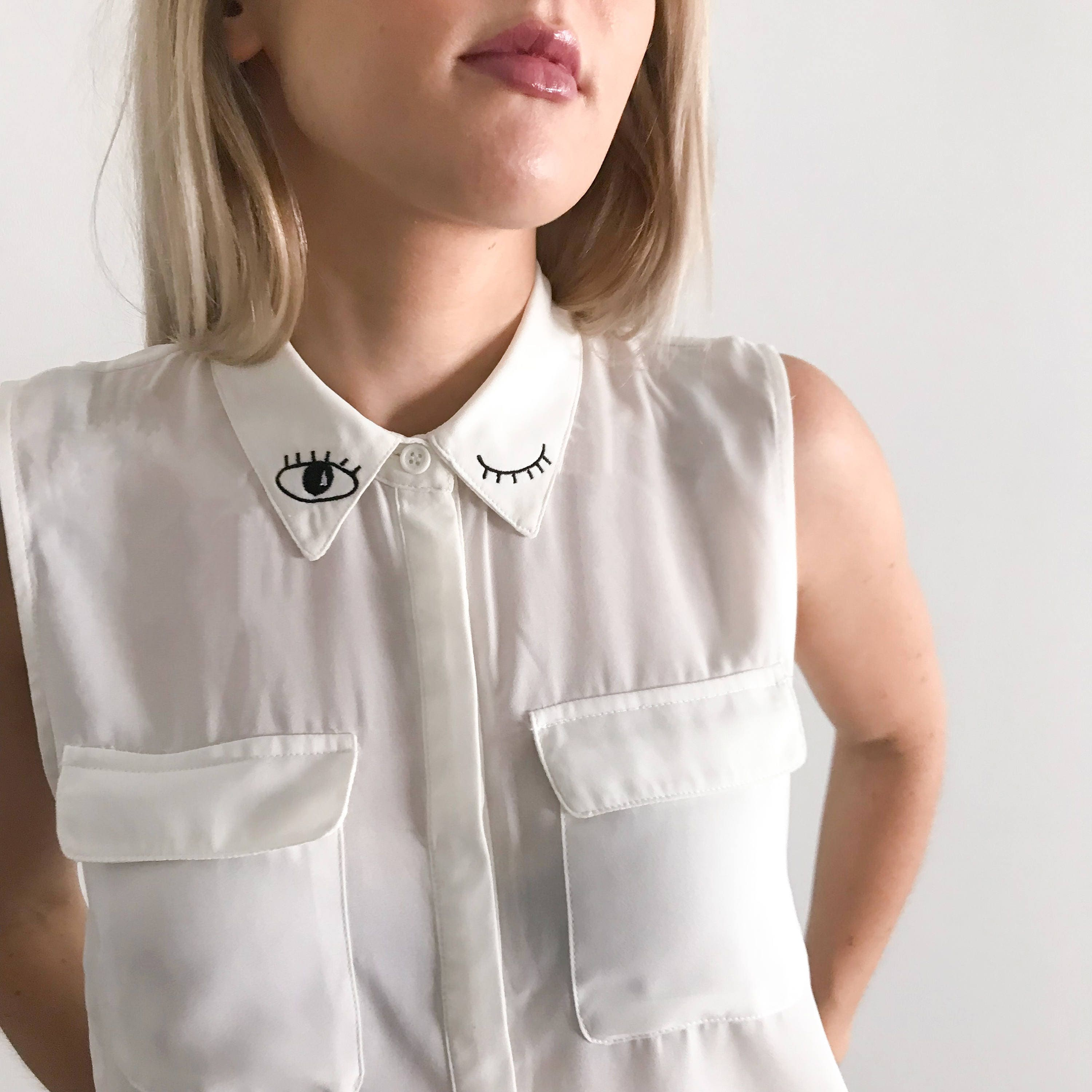 Winking Eye Embroidered Collar Shirt Embroidered Shirt Etsy