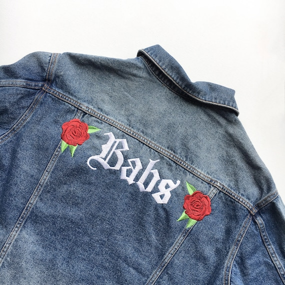 Rose Embroidery Custom Denim Jacket Etsy