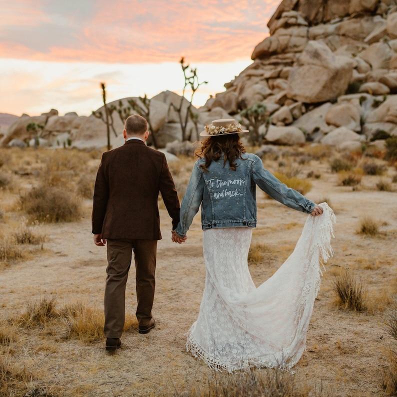 Moon /& Back Wedding Embroidered Denim Jacket Personalized Celestial Stars Mrs Bridal Wedding Jacket Bride Jacket Jean Jacket
