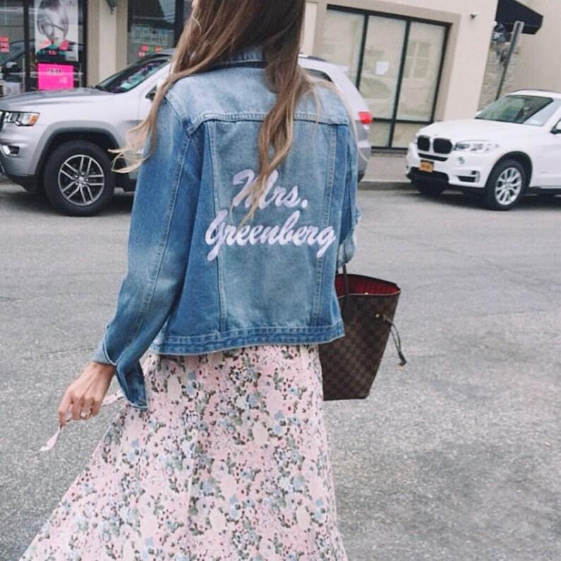31272c45b7e Wedding Name Denim Jacket Personalized Jean Jacket Bride