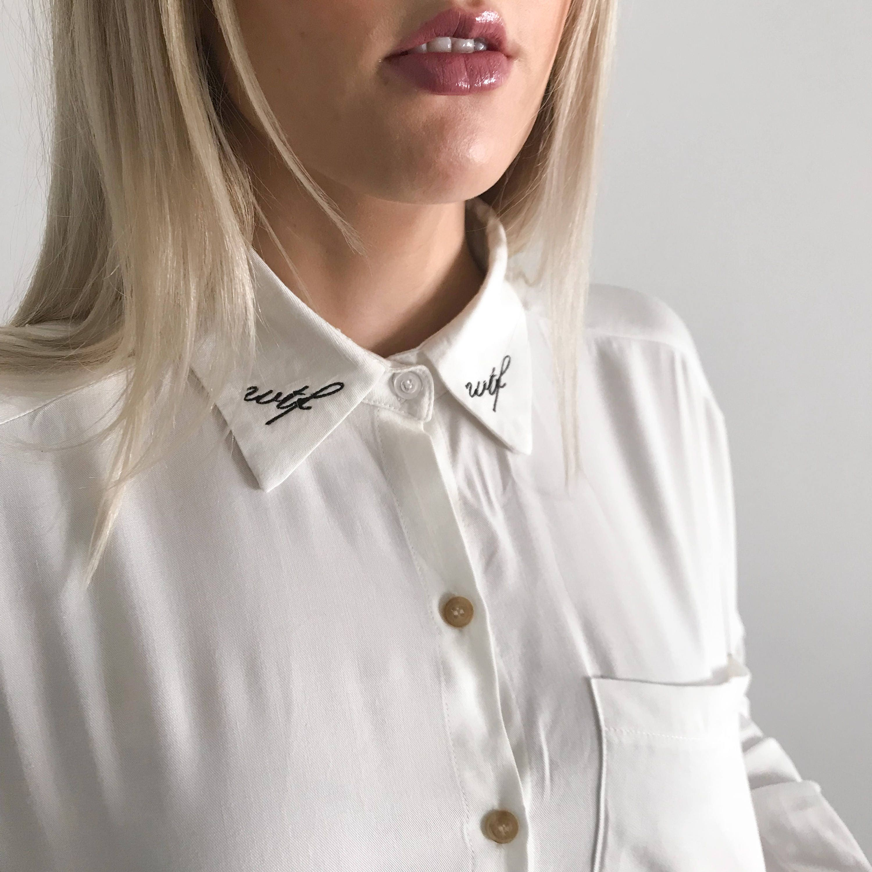 Wtf Embroidered Collar Shirt Embroidered Shirt Oversized Etsy