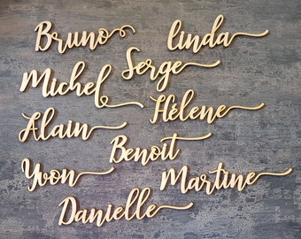 Laser cut custom wooden Name Place Cards for Weddings /& Functions