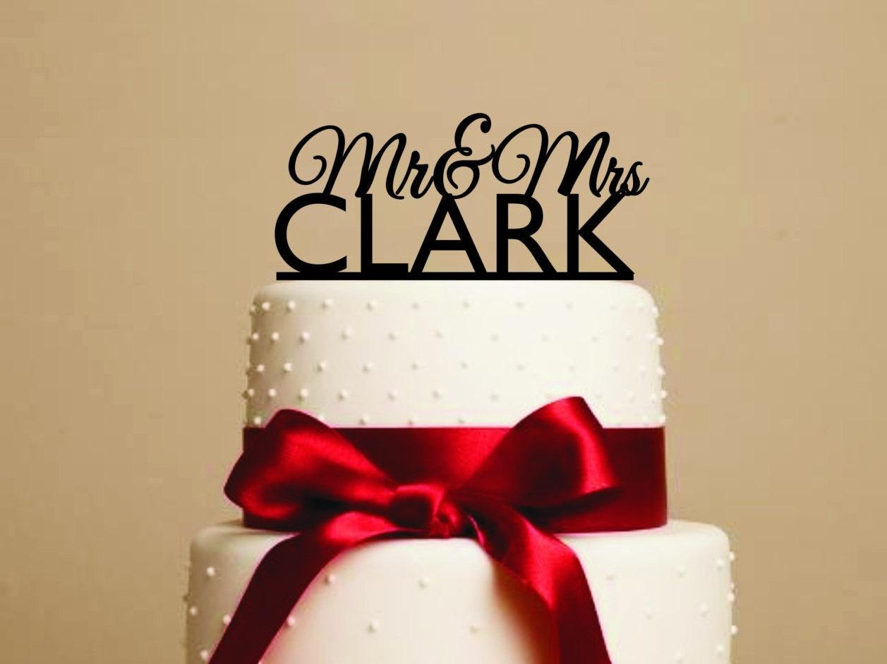 Custom cake topper Mr. and Mrs. cake topper Wedding Cake   Etsy
