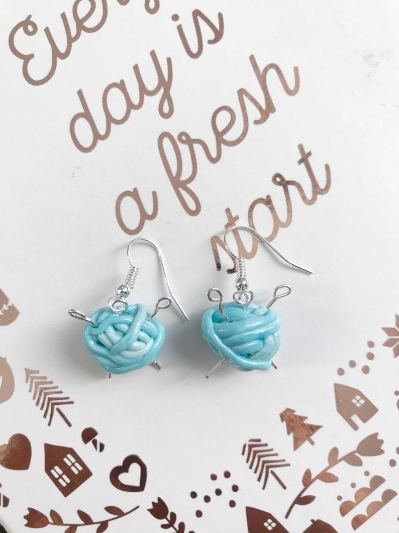 Ball of yarn realistic small cute miniature jewellery dangle earring Blue pastel wool yarn knitting needles polymer clay miniature earrings