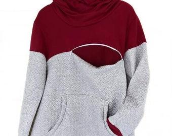 Zippered Breastfeeding Hoodie Sweatshirt - Nursing Sweater-True Mother Craft- New Mom Gift- Baby Shower- Breastfeeding Shirt-winter