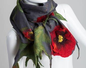 Gray Shawl With Poppy Flower / Nuno Felt / Red Flowers / Handmade Felted Shawl / Merino Wool / Wrap.