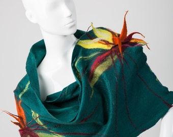 Shawl Strelitzia reginae, Art scarves, Nuno felt scarf, Wool scarf, Nuno felt wrap, OOAK, Handmade felted.