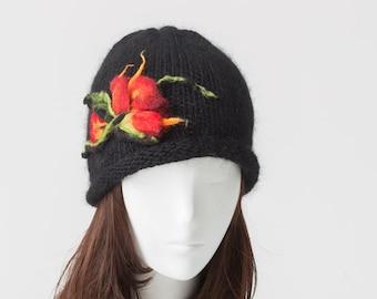 Hand Knit Black Hat Whit Needle Felting Flower / Cashmere /  Extra Fine Merino Wool / Silk / Noblest Fibers /  Ready To Ship.