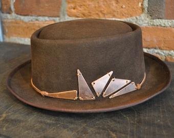 Pork Pie Black Gray Wool Vintage Denim Hat Band | Etsy