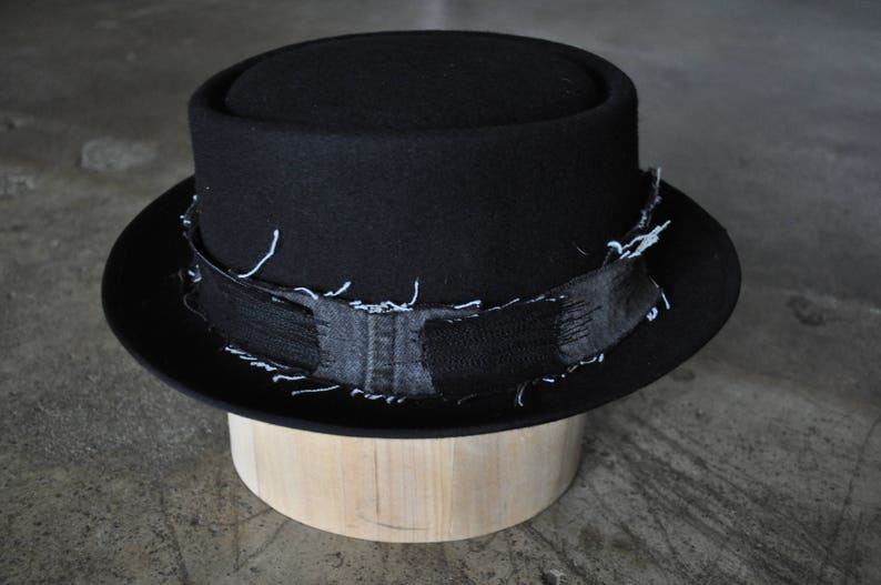 Pork Pie - Black - Gray - Wool - Vintage Denim - Hat Band - Distressed -  Rocker - Embroidery - Repair Stitching - One of a Kind - Fedora