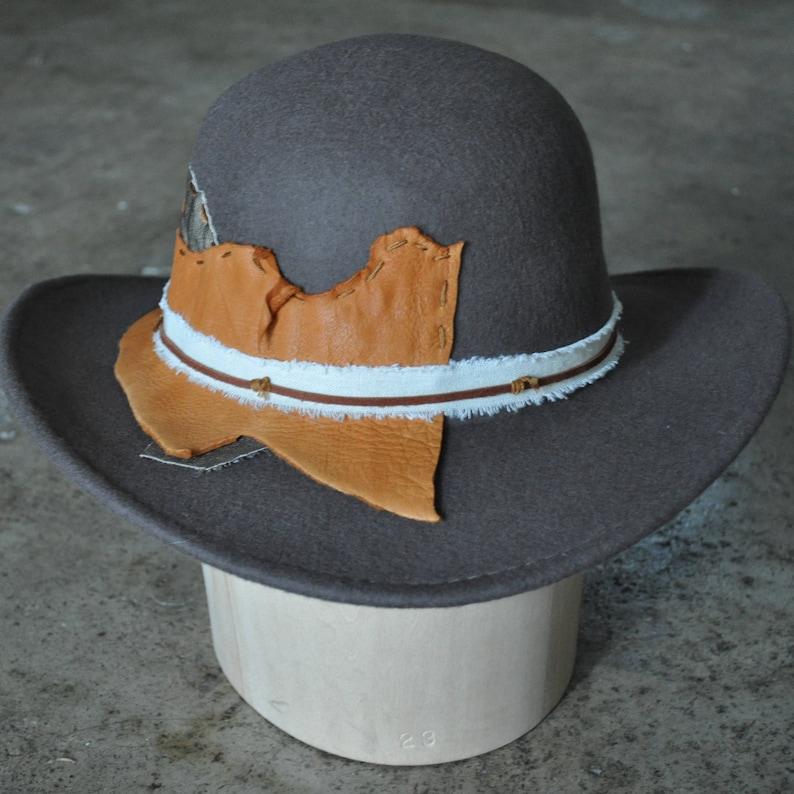 dbbb5b66e49a81 Western Cowboy Hat Wool Tan / Khaki Orange Leather | Etsy