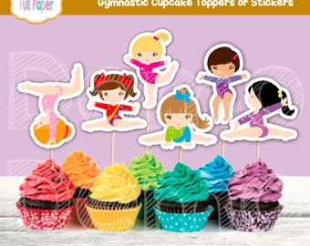 Gymnastic Cupcake Toppers Or Stickers Party Birthday Printable Boys