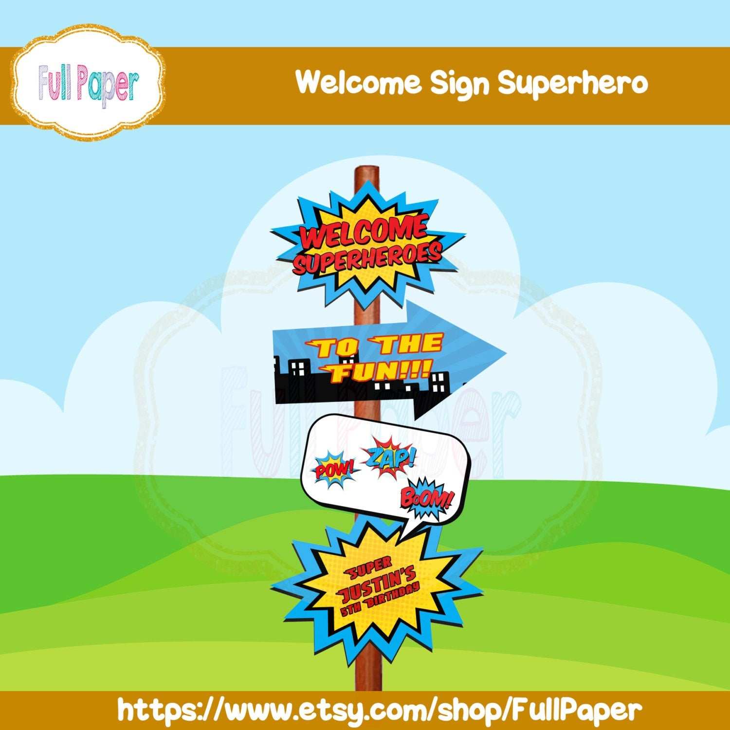 Welcome Sign Superhero Costume Printable Party Birthday Party Etsy