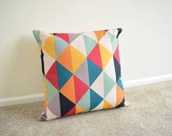 Multi Coloured, Geometric, Scandinavian, kids Room, home decor Cotton Linen Cushion/Pillow Cover 18 x 18""