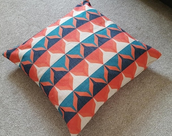 Teal/Orange Retro Scandinavian Cotton Linen Floor Cushion Cover 26 x 26""