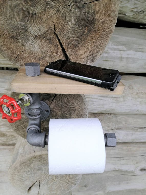 Toilet Paper Holder With Shelf Industrial Rustic Pipe Etsy
