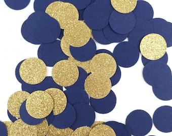 1,000 Navy Blue & Gold Glitter Confetti | Circle Confetti | Bridal Shower | Table Decor | Wedding | Baby Shower | Small Confetti | Gold