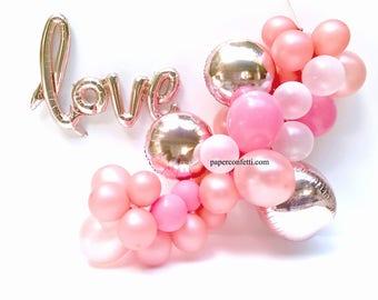 DIY 44-Piece Set   Rose Gold Balloon   Engagement Party Decorations   Balloon Garland   diy Balloon Garland   Rose Gold Love   Love Balloon
