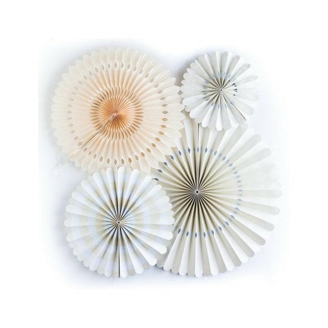 Cream Paper Fans | Paper Rosettes | Cream Fans | Baby Shower Decorations | Engagement Party Decorations | Paper Pinwheels | Fan Backdrop |