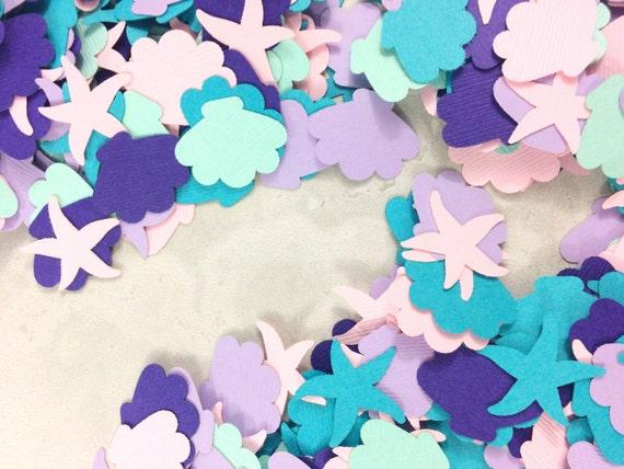 Confeti De Sirena Decoraciones Para Fiestas De Princesa Pequeña Fiesta De Sirena Confeti De Mesa Confeti De Náutica Bajo El Mar Partido De