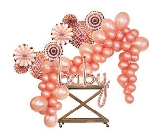 59-Piece Set | Rose Gold Balloon Garland | Baby Shower Decorations | Balloon Garland | Paper Fans | Baby Girl | Rose Gold | Gender Reveal