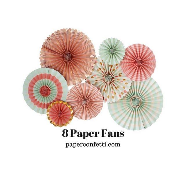 Paper Fans | Coral Fans | Mint Fans | Paper Rosettes | Mint and Coral Decorations | Coral | Mint | Mint Paper Fans | Coral Paper Fans