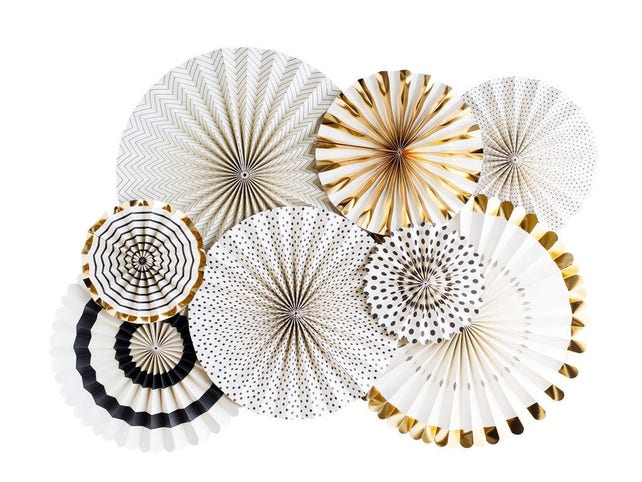 Paper Fans | Paper Rosettes | Black and White Fan | Gold Paper Fan | Black and Gold Decorations | Baby Shower Decoration | Wedding Backdrop