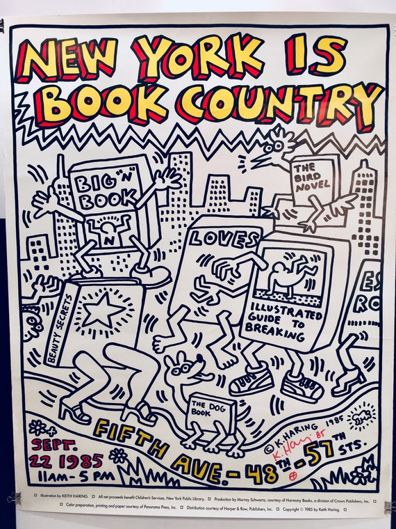 SELTENE signiert Keith Haring \'New York ist Book Week\' Poster & Palladium  Einladung, c. 1985